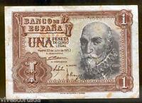 1 peseta 1953 Marques de Santa Cruz @@ Muy bello @@ Ultima peseta de papel