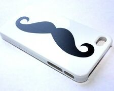 APPLE iPHONE 4 4G 4S - HARD PROTECTOR CASE SKIN BLACK WHITE CLEVER MUSTACHE