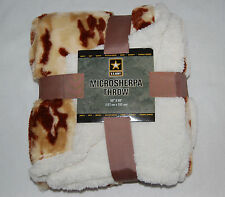 PLUSH 50x60 NORTHPOINT Throw Blanket BROWN CAMOFLAGE Sherpa Reversible