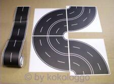 H0 Straßenfolie Straße Asphalt schwarz 100cm gerade + 8x Kurve selbstklebend Set