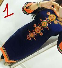 Trendy Rayon Cotton with inar Embroidary Neck Work Kurti navi blue