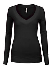 Women's Basic Solid Colors V-Neck Long Sleeve Stretch Fitted Cotton T-Shirt Top