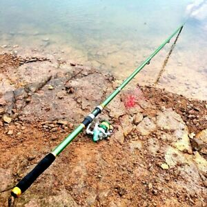 Telescopic Fishing Pole Rod Tackle Spinning Hard Strong Portable Green Stream S