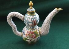 Vintage Chinese Miniature Double Gourd Shaped Cloisonne Teapot (ca. 19-20th c.)