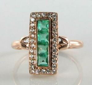 LONG 9K 9CT ROSE GOLD COLOMBIAN EMERALD & DIAMOND ART DECO INS RING Size S 1/2