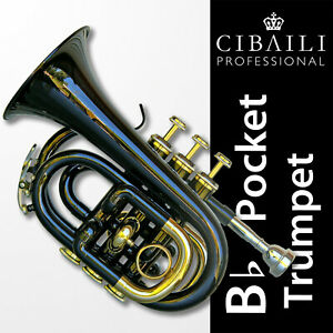 BLACK CIBAILI Bb Pocket Trumpet • Great Quality Horn • Brand New with Case •