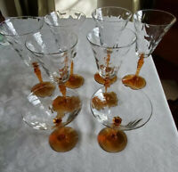 Lot Of 8 Fine Crystal Stemware W/ Amber Stems; 6 Water & 2 Champagne Glasses