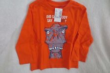 The children place Baby Boy Top Orange Long Sleeves Dino Size 12-18 Months New