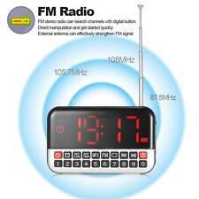 Portable Digital FM Radio Stereo Speaker LED Display Alarm Clock USB TF Card AUX