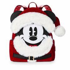 Disney Parks Loungefly Santa Mickey Christmas Holiday Mini Backpack NEW