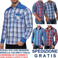 Camicia a Quadri Uomo Manica Lunga Cotone con Inserti in Jeans Avvitata Scozzese