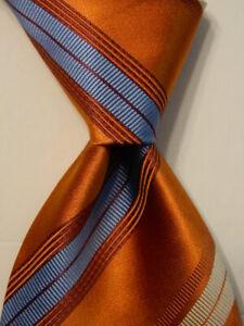 ERMENEGILDO ZEGNA Mens Silk/Cotton Necktie ITALY Luxury STRIPED Orange/Blue EUC