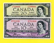 CANADA 1954 DEVIL'S  FACE  $10 + $20 - 2 BILL LOT