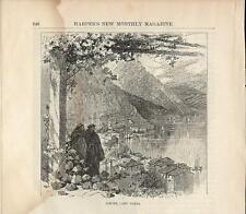 Stampa antica LIMONE sul GARDA panorama Lago di Garda 1879 Old antique print