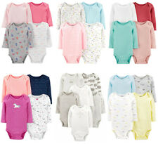 Carters Bodysuits Baby Girls Long Sleeve Unisex Sets New