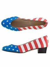 AMERICAN APPAREL $85 Rare Leslie Low Heeled Pump Shoes Flag Print 4th of July