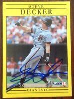 Steve Decker Hand Signed 1991 Fleer Baseball Card San Francisco Giants