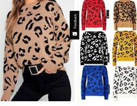Womens Ladies Leopard Print Long Sleeve Jumper Knitted Pullover Sweater Top 8-22
