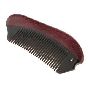 Handmade Purpleheart Buffalo Horn Fine Tooth Hair Beard Comb Massager Brush