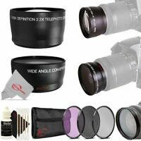 49mm 2X HD Multi-Coated Telephoto + Wide Angle Filter Kit for 49mm Thread Lens