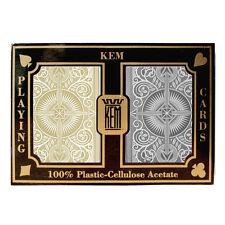 100% plastic acetate KEM ARROW Bridge/Jumbo GOLD/BLACK playing cards -2 decks