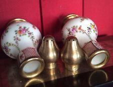 Paire Saleron Porcelaine XIX Saxe ? Couronne Fleche Email Monture Argent France