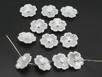 200 Pure White Acrylic Pearl Flower Bead Cap Beads 12mm Sewing Bow Center