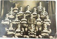 .RARE 1917 REAL PHOTO POSTCARD IPSWICH GRAMMAR SCHOOL 1ST 15 RUGBY UNION. J HUNT