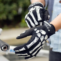 Cool Full Finger Cycling Bicycle Gloves Skull Outdoor Sport Windproof Gloves NEW
