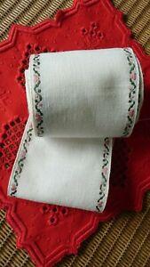 Leinenband natur mit eingewebter Bordüre - 11,5 cm - sticken