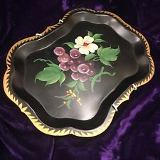 Vintage Hand Painted Tole Ware Tray Fruit Motif Excellent