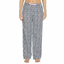 Womens Ladies Leopard Animal Print PJ Pyjama Bottoms Pants Elasticated Drawcord