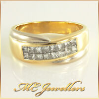 Invisible Setting Diamond Ring Solid 18K 18ct Two Tone White & Yellow Gold Sz S