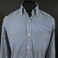 Lacoste Mens Vintage Shirt 39 (SMALL) Long Sleeve Blue Regular Fit Striped