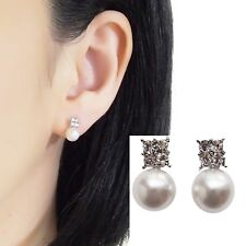 Bridal White Pearl Silver Rhinestone Crystal Invisible Clip On Stud Earrings