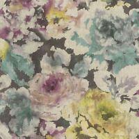 FLORENTINE FLORAL FABRIC EFFECT WALLPAPER PLUM, GREEN & BLACK RASCH 455649 NEW