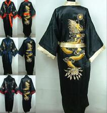 Double-Face Chinese Silk Men's Kimono Robe Gown Bathrobe Dress M-XXXL