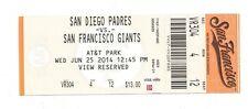 2014 SF GIANTS VS PADRES ticket stub unused TIM LINCECUM no hitter 6/25/14 BO