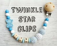 Personalised Wooden Dummy Clip Blue White Crochet Beads Elephant Boy Boys Gift