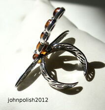 Gorgeous Baltic Amber Ring Dragonfly with Silver 925