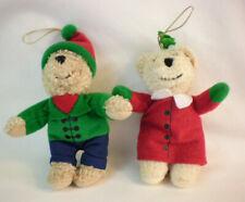 "Hallmark Kissing Bears Christmas Ornaments vintage mini 4.5"" holiday set of two"