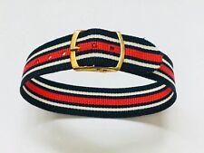 "Vintage 18mm 3/4"" 1960s Perlon Reversible Watch Band Regimental Military(10760M)"