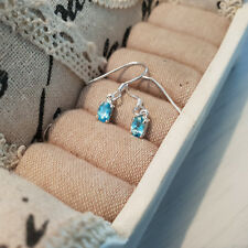 Beautiful Madagascar Paraibe Apatite hook earrings in Sterling Silver