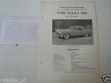 FO45--FORD USA THUNDERBIRD 1956,TECHNICAL INFO CAR CLASSIC OLDTIMER