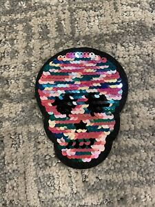 NEW Multicolor Camouflage Skull Flip Sequin Iron On Appliqué Patch