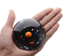 80mm Solar System Paperweight Dome Semi Crystall Ball 3D Glass Galaxy Miniature