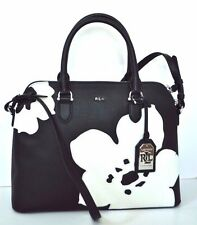 $268 RALPH LAUREN GENUINE LEATHER SATCHEL WOMEN'S BAG HANDBAG White FLOWERS