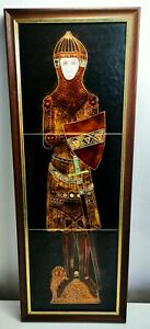 Vintage 1970s Maw And Co Ceramic Tile Framed Panel Medieval KnightTiled