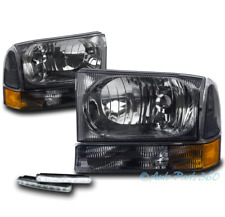 99-04 FORD F250 F350 F450 SUPERDUTY EXCURSION SMOKE HEAD LIGHTS W/DRL LED SIGNAL