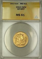 1913 Great Britain Sovereign Gold Coin ANACS MS-61